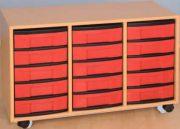 Materialcontainer fahrbar, 3-reihig, 3 Modulboxen mit je 5 flachen Schubladen