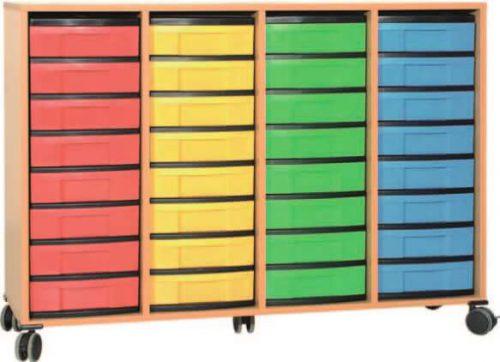 Materialcontainer fahrbar 4 Modulboxen mit je 8 flachen Schubladen
