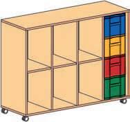 Materialcontainer fahrbar 4-reihig 1 Modulbox mit 4 tiefen Schubladen
