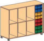 Materialcontainer fahrbar 4-reihig 1 Modulbox mit je 8flachen Schubladen