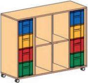 Materialcontainer fahrbar 4-reihig 2 Modulboxen mit je 4 tiefen Schubladen