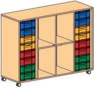 Materialcontainer fahrbar 4-reihig 2 Modulboxen mit je 8 flachen Schubladen