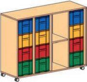 Materialcontainer fahrbar 4-reihig 3 Modulboxen mit je 4 tiefen Schubladen