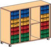 Materialcontainer fahrbar 4-reihig 3 Modulboxen mit je 8 flachen Schubladen