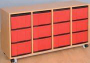 Materialcontainer fahrbar, 4-reihig, 4 Modulboxen mit je 3 hohen Schubladen