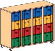 Materialcontainer fahrbar 4-reihig, 4 Modulboxen mit je 4 tiefen Schubladen