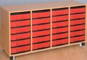 Materialcontainer fahrbar, 4-reihig, 4 Modulboxen mit je 6 flachen Schubladen