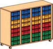 Materialcontainer fahrbar 4-reihig 4 Modulboxen mit je 8 flachen Schubladen