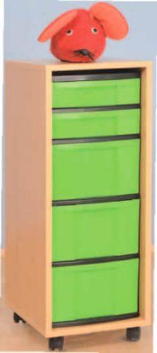 Materialcontainer fahrbar mit 3 hohen und 2 flachen Schubladen