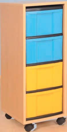 Materialcontainer fahrbar mit 4 hohen Schubladen