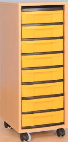 Materialcontainer fahrbar mit 8 flachen Schubladen