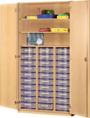 Schrank mit Aufbewahrungsboxen 32