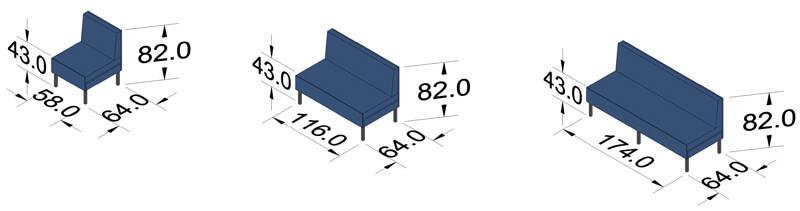 ProSedia Sofa ohne Seitenlehne