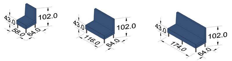 ProSedia Sofa hohe Rückenlehne Piktogramme